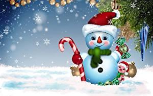 Hintergrundbilder Neujahr Schneeflocken Schneemänner Mütze Lächeln Ast