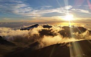 Bilder Vereinigte Staaten Park Gebirge Himmel Sonne Wolke Haleakala National Park