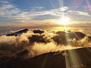Bilder Vereinigte Staaten Park Gebirge Himmel Sonne Wolke Haleakala National Park Natur