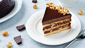 Bilder Törtchen Torte Stück Teller Lebensmittel