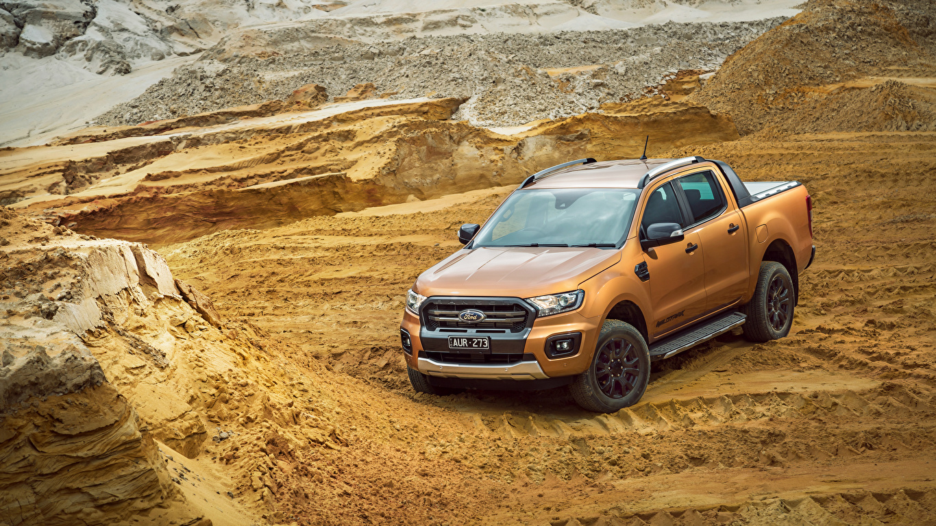 Pictures Ford 2018 19 Ranger Wildtrak Pickup Brown Auto 1366x768