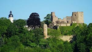 デスクトップの壁紙、、ドイツ、城、要塞、廃墟、Frauenstein, Saxony, Eastern Ore Mountains、