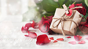 Papéis de parede Dia dos Namorados Rosas Presentes Pétala Prendedor de roupas Coração Flores