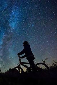 Fotos Milchstraße Himmel Stern Fahrrad Silhouetten Nacht Natur