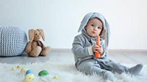 Hintergrundbilder Feiertage Ostern Kaninchen Mohrrübe Knuddelbär Ei Baby Junge Uniform kind