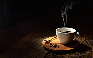 Pictures Coffee Wood planks Cup Grain Vapor