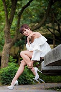 Fotos Asiaten Parks Bank (Möbel) Lächeln Blick Bein Schöner Sitzend Braune Haare Mädchens
