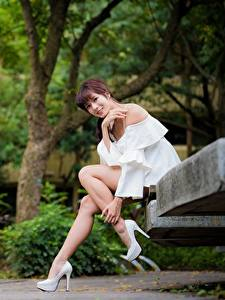 Wallpapers Asiatic Park Bench Smile Glance Legs Beautiful Sitting Brown haired Girls