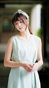 Fotos Asiatisches Braunhaarige Hand Unscharfer Hintergrund junge Frauen