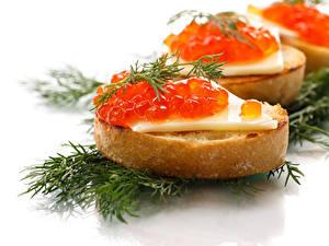 Hintergrundbilder Butterbrot Meeresfrüchte Kaviar Dill Weißer hintergrund