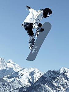 Hintergrundbilder Snowboard Winter Mann Berg Sprung sportliches