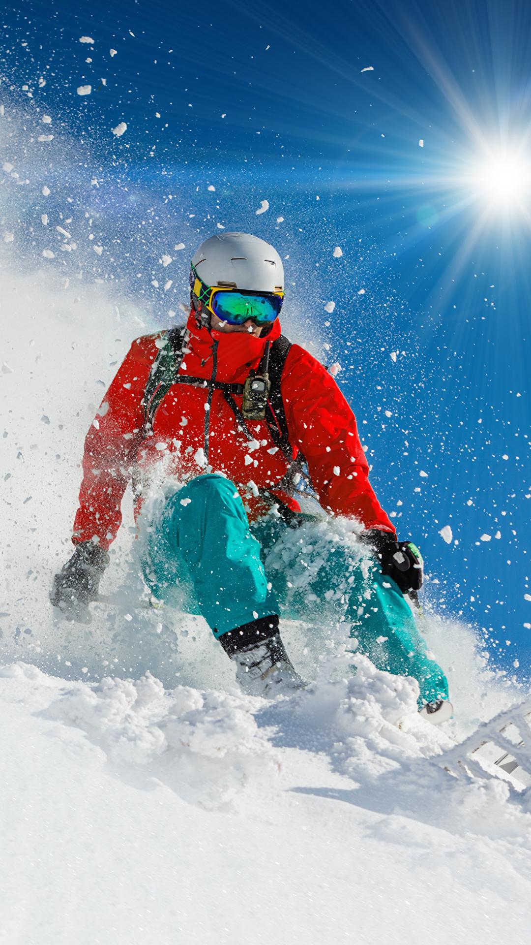 Foto Helm Mann Sport Jacke Sonne Winter Schnee Skisport 1080x1920 sportliches