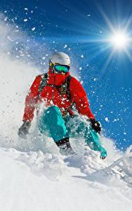 Fondos de Pantalla Tabla de esquí Invierno Varón Nieve Sol Casco Chaqueta Deporte
