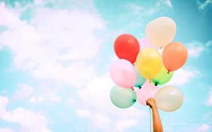 Hintergrundbilder Himmel Luftballon Hand