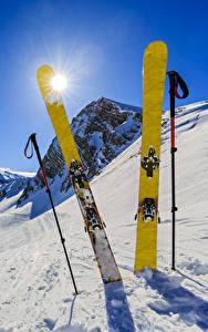 壁纸、、冬、スキー、雪、太陽、自然、スポーツ