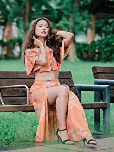 Picture Asian Bench Sitting Legs Beautiful Brown haired female