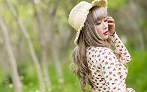 Bilder Asiatische Unscharfer Hintergrund Bluse Der Hut Mädchens