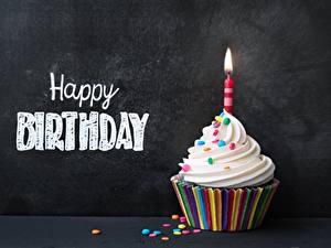 Papéis de parede Cupcake Aniversário Velas Inglês Palavra Alimentos