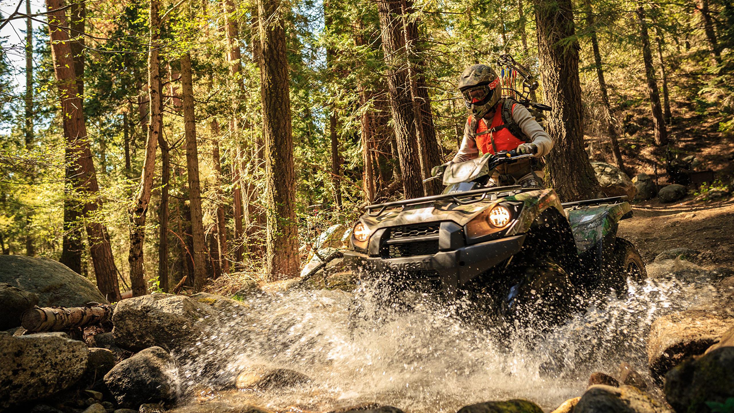 Photo Atv Men Helmet Forest Water Splash 2560x1440