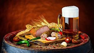 Hintergrundbilder Bier Wurst Schinken Becher