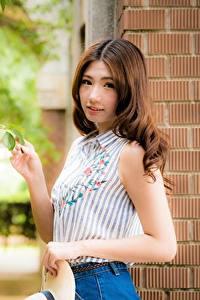 Bilder Asiaten Unscharfer Hintergrund Ast Braune Haare Starren Hand junge frau