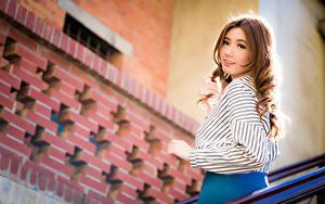 Bilder Asiatisches Unscharfer Hintergrund Bluse Starren Niedlich Braunhaarige junge Frauen