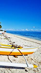 Fotos Philippinen Tropen Küste Boot Strand