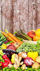 Fotos Obst Gemüse Viel Bretter Lebensmittel