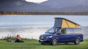 Bilder Mercedes-Benz Blau Metallisch Picknick 2019 Marco Polo Worldwide Autos