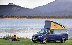 Bilder Mercedes-Benz Blau Metallisch Picknick 2019 Marco Polo Worldwide Autos