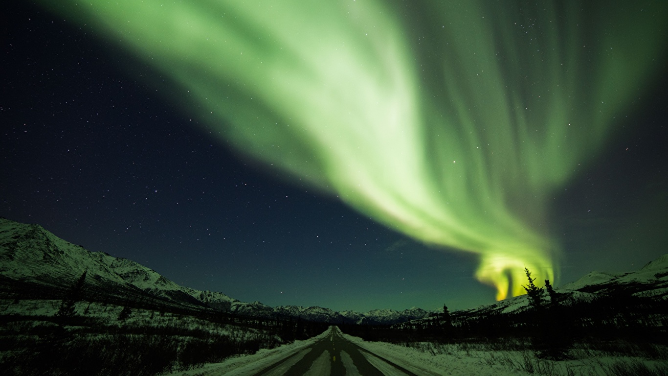 Fonds Decran 1366x768 Hiver Routes Nuit Aurore Polaire