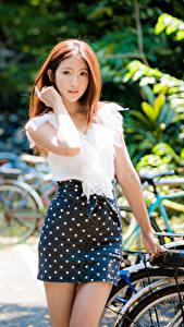 Fotos Asiaten Unscharfer Hintergrund Rock Bluse Hand Braune Haare Starren