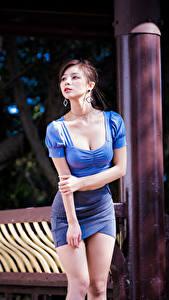 Desktop hintergrundbilder Asiatische Posiert Rock Hand Bluse Dekolletee Blick Unscharfer Hintergrund Mädchens