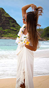 Wallpaper Coast Plumeria Brown haired Dress Girls