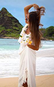 Fotos Küste Frangipani Braune Haare Kleid Mädchens