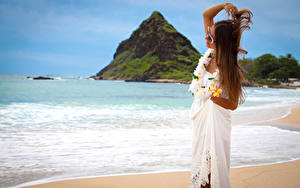 Wallpaper Coast Plumeria Brown haired Dress