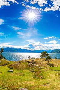 Hintergrundbilder Island Fluss Küste Himmel Landschaftsfotografie Sonne Wolke Gras Natur
