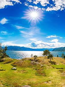 Hintergrundbilder Island Fluss Küste Himmel Landschaftsfotografie Sonne Wolke Gras