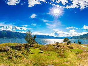 Hintergrundbilder Island Flusse Küste Himmel Landschaftsfotografie Sonne Wolke Gras