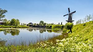 Bilder Teich Sommer Landschaftsfotografie Mühle Gras Natur