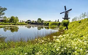 Bilder Teich Sommer Landschaftsfotografie Mühle Gras