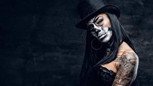 Hintergrundbilder Feiertage Der Hut Make Up Tätowierung day of the dead junge Frauen