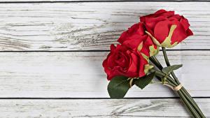 Fotos Rosen Blumensträuße Rot Bretter Blüte