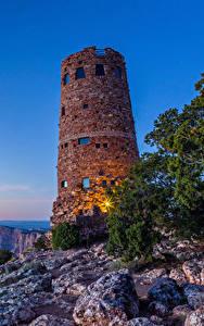 Hintergrundbilder USA Grand Canyon Park Park Leuchtturm Gebirge Morgendämmerung und Sonnenuntergang