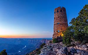 Hintergrundbilder USA Grand Canyon Park Park Leuchtturm Gebirge Sonnenaufgänge und Sonnenuntergänge Natur