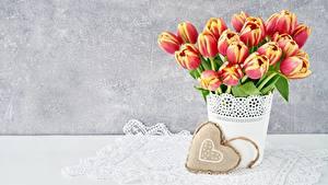 Papel de Parede Desktop Tulipa Dia dos Namorados Coração Flores