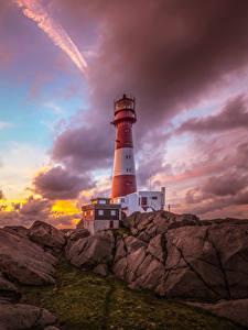 Bilder Norwegen Küste Sonnenaufgänge und Sonnenuntergänge Leuchtturm Stein Himmel Wolke Nymark Rogaland Natur