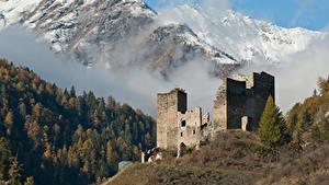 デスクトップの壁紙、、スイス、山、森林、城、廃墟、雪、霧、、自然