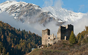 Bilder Schweiz Gebirge Wald Burg Ruinen Schnee Nebel  Natur