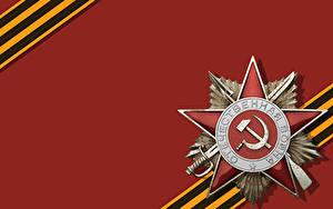 Papéis de parede Dia da Vitória 9 de maio Foice e martelo Ordem medalha Cartão do molde